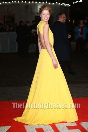 Rosamund Pike Yellow Evening Dress 'Jack Reacher' World Premiere Backless Gown