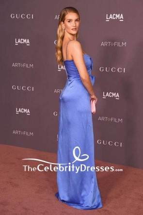 Rosie Huntington-Whiteley Blue Spaghetti Strap Backless Evening Dress 2017 LACMA Art + Film Gala Red Carpet TCD7574