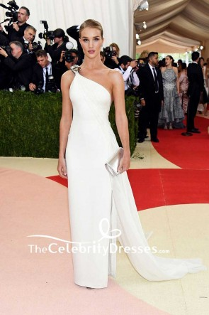 Rosie Huntington-Whiteley White One-shoulder Chiffon Thigh-high Split Evening Dress Met Gala 2016 Red Carpet