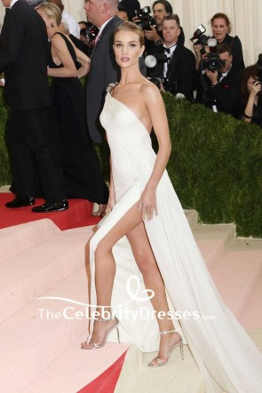 Rosie Huntington-Whiteley White One-shoulder Chiffon Thigh-high Split Evening Dress Met Gala 2016 Red Carpet TCD7602