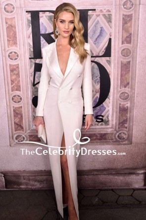 Rosie Huntington-Whiteley White Plunging Tuxedo Dress
