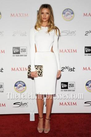 Rosie Huntington-Whiteley White Cocktail Party Dress 2011 Maxim Hot 100 Party