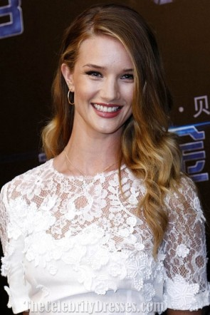 Rosie Huntington-Whiteley White Dress Press Conference