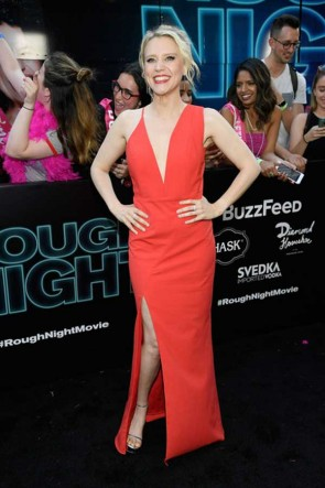 Kate McKinnon Red Spaghetti Straps Deep V- neck Sheath Dress Rough Night Premeire TCD7328
