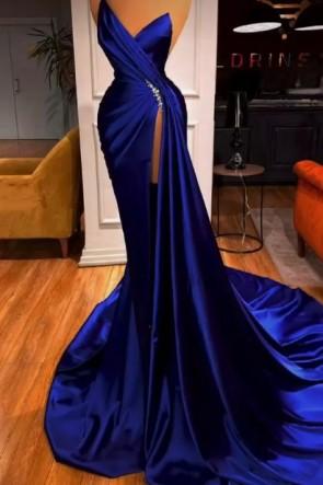 Royal Blue Sexy Strapless Thigh-high Slit Court Train Satin Formal Dress TCD9104