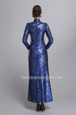 Royal Blue High Neckline Long Sleeve Evening Formal Dresses TCDBF056