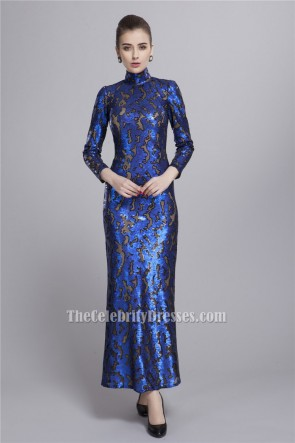 Royal Blue High Neckline Long Sleeve Evening Formal Dresses