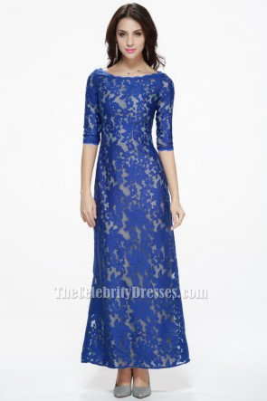 Royal Blue Lace Prom Gown Evening Formal Dresses