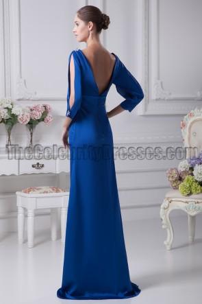 Royal Blue Long Sleeve V-Neck Prom Gown Evening Dresses