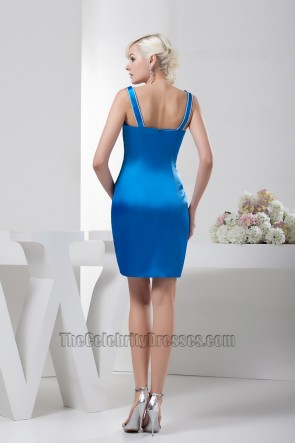 Royal Blue Short Beaded Party Cocktail Homecoming Dresses
