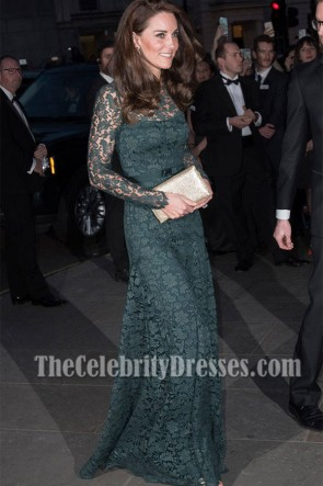 Kate Middleton Long Green Lace Evening Dress Portrait Gala 2017 Fundraiser TCD7210