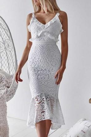 Ruffled Mermaid Lace Dress