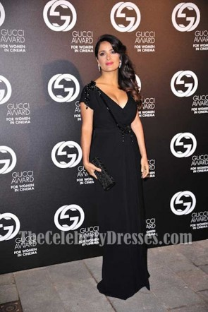 Salma Hayek Black Deep V-neck Evening Dress With Short Sleeves 2012 Award for Women in Cinema TCD7448