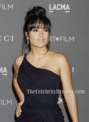 Salma Hayek Black One Shoulder Prom Gown LACMA 2012 Art + Film Gala