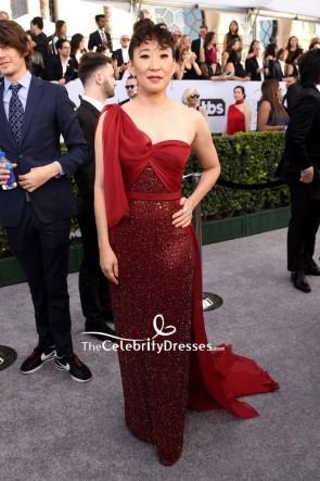 Sandra Oh Red One-shoulder Sparkly Evening Dress 2019 SAG Awards