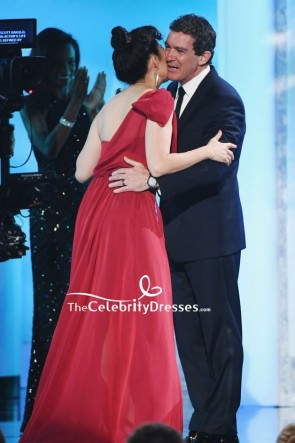 Sandra Oh Red One-shoulder Sparkly Evening Dress 2019 SAG Awards TCD8266