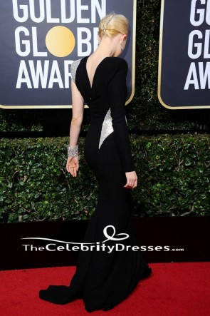 Saoirse Ronan 2018 Golden Globe Awards Black One Sleeve Evening Dress TCD7717