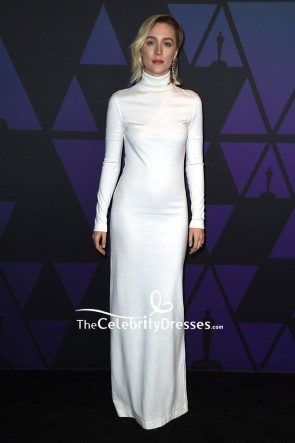 Saoirse Ronan White High Neck Sheath Evening Dress With Sleeves 2018 Governors Awards