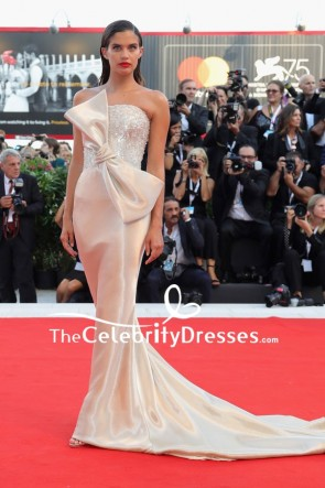 Sara Sampaio Strapless Sparkly Evening Formal Dress 2018 Venice Film Festival