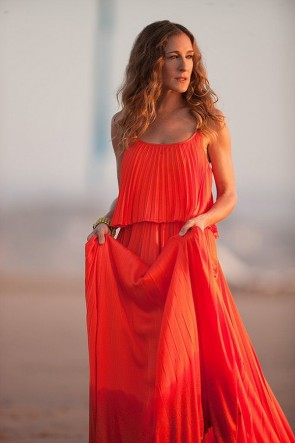 Sarah Jessica Parker Orange Pleated Dress In Sex And The City