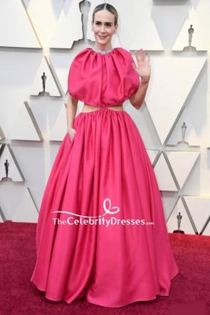 Sarah Paulson Fuchsia Cut Out Formal Dress 2019 Oscars Red Carpet
