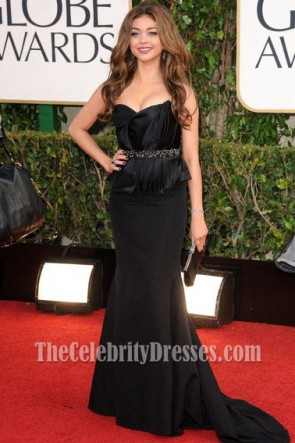 Sarah Hyland Black Formal Dress Golden Globe Awards 2013