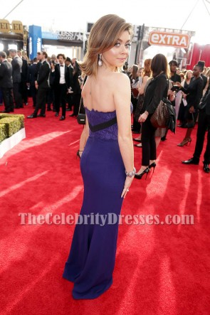 Sarah Hyland Dark Royal Blue Strapless Backless Evening Formal Dress 2016 SAG Awards TCD6977