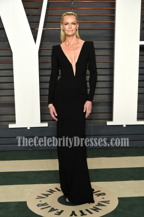 Sarah Murdoch Black Long Sleeves Evening Formal Dress Vanity Fair Oscar After-party 2016 1