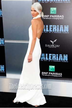 Sasha Luss White Halter Backless Prom Dress Valerian and the City of a Thousand Planets Premiere 2017 TCD7422