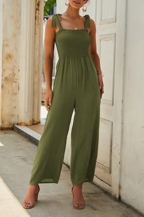 Fashion Solid Bateau Jumpsuits