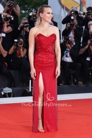 Scarlett Johansson red sequined Strapless Dress Venice Film Festival 2019