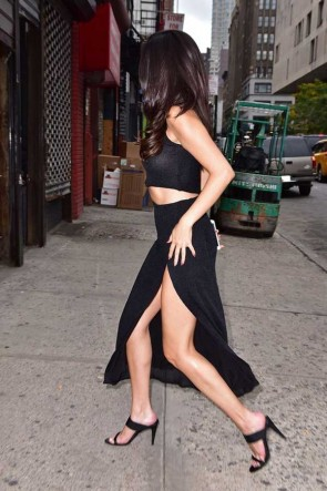 Selena Gomez Black Cut Out High Slit Prom Dress New York National NoBraDay 2017 TCD7423