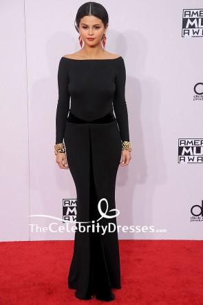 Selena Gomez Black Mermaid Backless Evening Dress With Long Sleeves 2014 American Music Awards