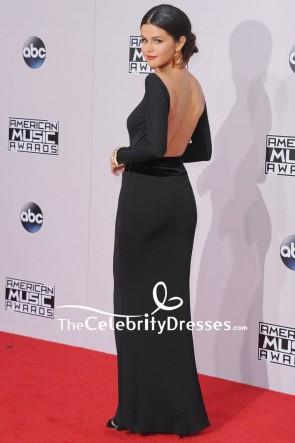 Selena Gomez Black Mermaid Backless Evening Dress With Long Sleeves 2014 American Music Awards TCD7914