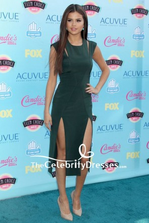 Selena Gomez Dark Green Cocktail Dress Teen Choice Awards 2013