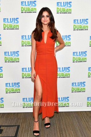 Selena Gomez Orange Red Sexy High Slit Sheath Prom Dress Z100 Radio Studio 2017 TCD7270