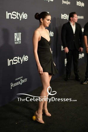 Selena Gomez Sexy Fit And Flare Little Black Dress 2017 InStyle Awards TCD7566