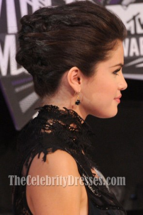 Selena Gomez Mtv Video Music Awards 2011 Black Lace Dress