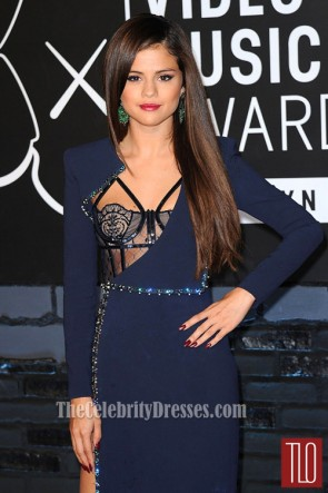 Selena Gomez Navy Blue Prom Dress 2013 MTV VMAs Red Carpet