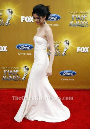 Selena Gomez White Strapless Prom Evening Dress 41st NAACP Image awards