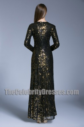 Sequins Long Evening Prom Gown Sheath Long Sleeves Formal Dress TCDBF5010