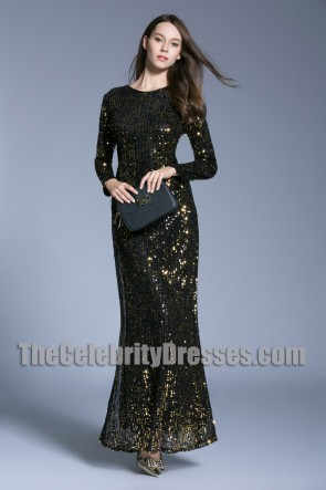 Sequins Long Evening Prom Gown Sheath Long Sleeves Formal Dress
