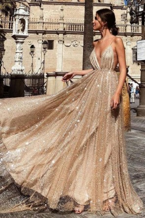 Sexy Deep V-neck Champagne Sparkly Prom Dress