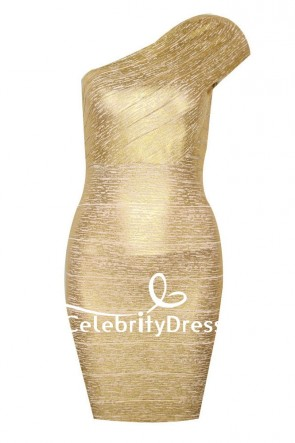 Sexy Celebrity Gold One-shoulder Bandage Bodycon Cocktail Party Dress TCD7635