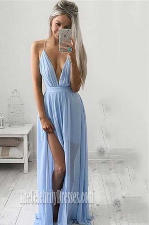 Sexy Low Cut Sky Blue Evening Gown Prom Dress With A High Split TCDFD7387