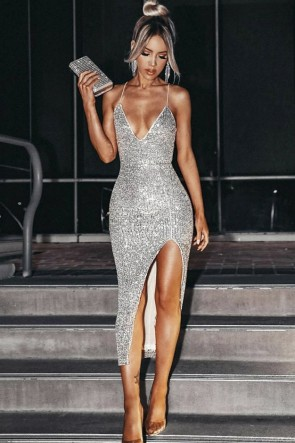 Sexy Silver Bodycon Party Dress