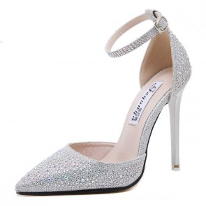 Sexy Silver Drilled Pointed Toe Stiletto Heels Prom Shoes With Ankle Strap