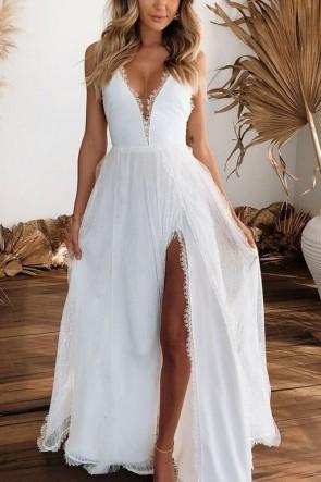 Sexy Thigh-high Slit V-neck Lace Prom Dress
