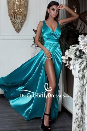Sexy V-neck Thigh-high Slit Prom Dress