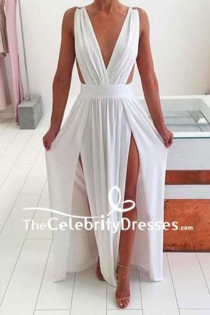 Sexy White Deep V-neck Thigh-high Slit Prom Dress